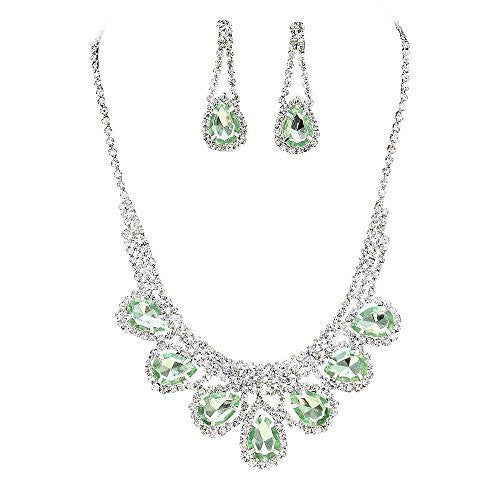 Princess Light Green Rhinestone Prom Bridesmaid Evening Necklace Set Silver Tone S4