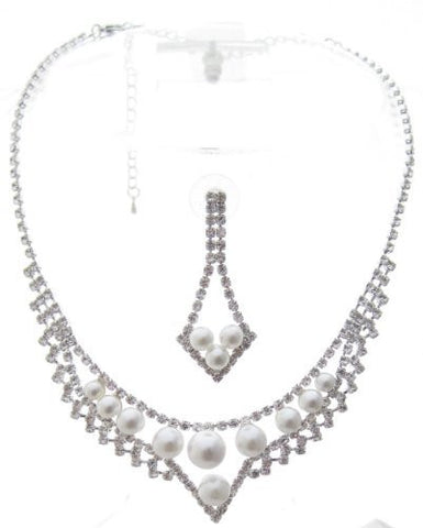 White Pearl Princess Bridal Bridesmaid Necklace Earring Set Rhinestone Silver Tone CF6