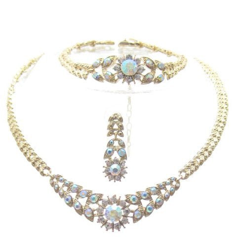 Crystal Sunburst 3 Piece Bling Bridal Necklace Earring AB IRIDESCENT Gold Tone