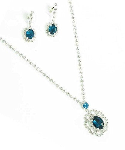 Beautiful Drop Evening Party Teal Blue With Tear Drop Dangle Bridal Bridesmaid Necklace Earring