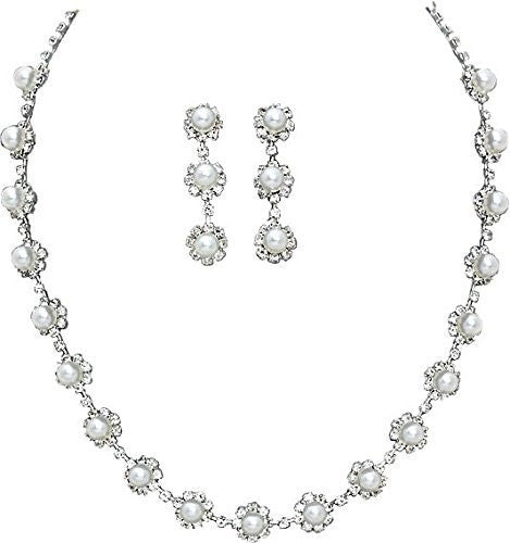 Stunning Drop Bridal Wedding White Pearl Necklace Earring Set SilverTone AA3