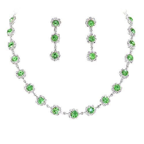 Green Floral Crystal Rhinestone Collar Necklace Necklace Set Bridal Bridesmaid Prom