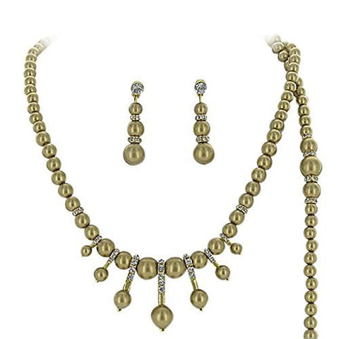 3 Piece Bronze Pearl Bridal Bridesmaid Necklace, Earring, Bracelet W Crystal Gold Tone AC6