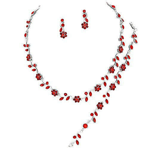 Affordable Ruby Red Crystal Bridesmaid 3 Bridal Necklace, Earring, Bracelet Set H3