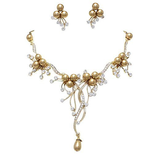 Designer Look Bronze Topaz Pearl & Rhinestone Bridal Necklace Earring Set AC2