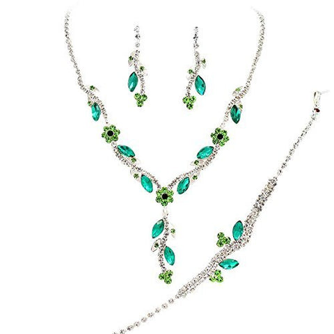 Y Drop Pretty Emerald Teal & Lime Floral Crystal Prom Bridesmaid Wedding Necklace Jewelry Set DO4
