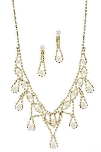 V Style Cream Faux Pearl Bridal Necklace Set W Crystal Gold Tone