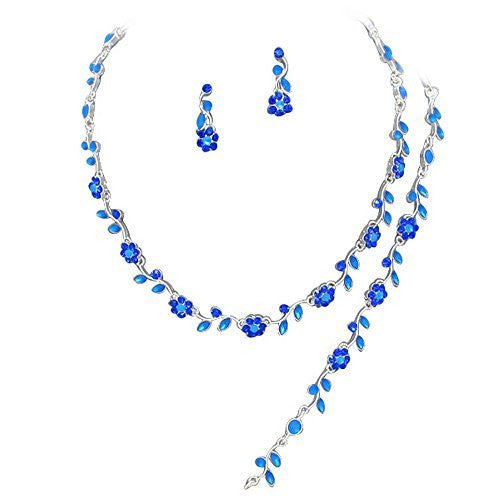 Affordable Cornflower Blue Color Crystal Bridesmaid 3 Bridal Necklace, Earring, Bracelet Set I1