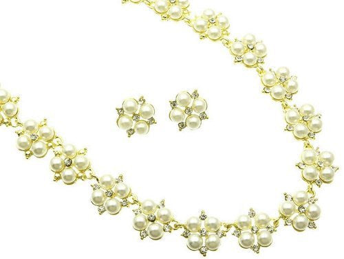 Cream Pearl Blossom Bridal Necklace Earring Set Yellow Gold Tone W Bling