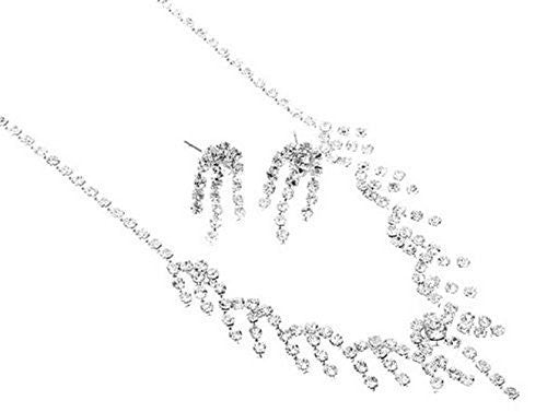 Delicate and Petite Rhinestone Bridal Necklace Set on Silver Tone Prom