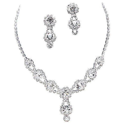 Stunning Y Drop Evening Party Clear Crystal Bridal Bridesmaid Necklace Earring Silver Tone C3