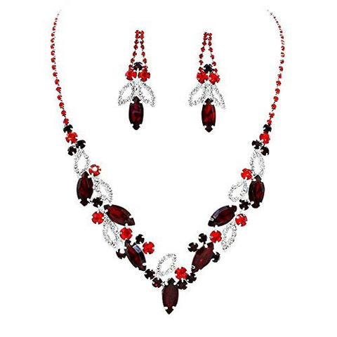 Multi Red Marquise Rhinestone Necklace Set Bridal Bridesmaid Prom SilverTone
