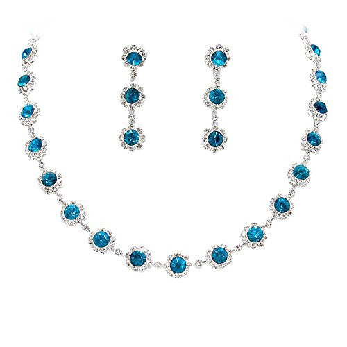 Teal Blue Floral Crystal Rhinestone Collar Necklace Necklace Set Bridal Bridesmaid Prom