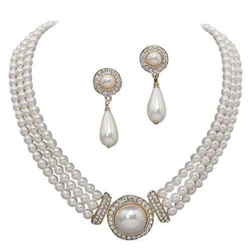 Elegant 3 Strand Cream Ivory Pearl on Gold Tone Drop Bridal Necklace Earring Set X3