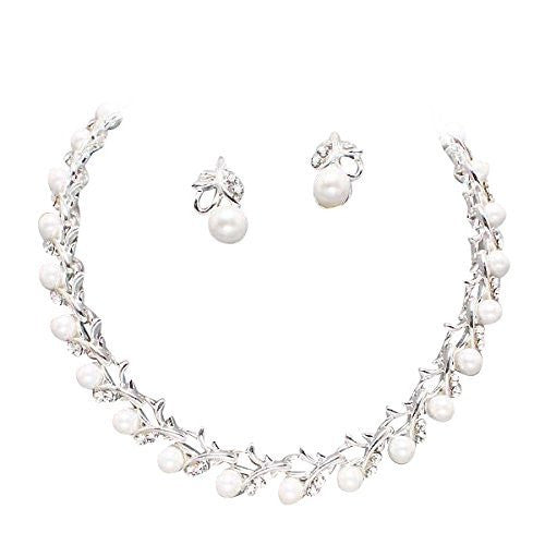 Classic Lovely Bridal White Pearl Necklace Earring Set Silver Tone W Bling CD5