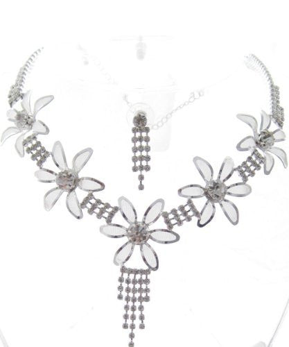 Sweet Elegant Silver Tone Bridal Bridesmaid Necklace Earring Set W Rhinestones