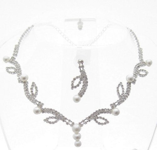 Bling Spray White Pearl Bridal Necklace Set W Crystal Rhinestones Silver Tone