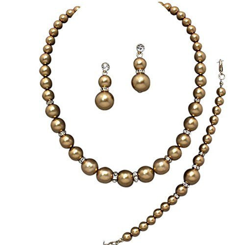 Oversize Statement Bronze Pearl Bridal Necklace Set Prom Earring Set Y3