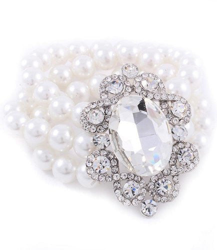 3 Row Faux White Pearl Bridal Bracelet on Silver Tone W Vintage Brooch