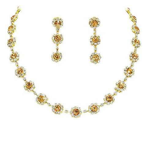 Bronze Brown Floral Crystal Rhinestone Collar Necklace Necklace Set Bridal Bridesmaid Prom Gold Tone