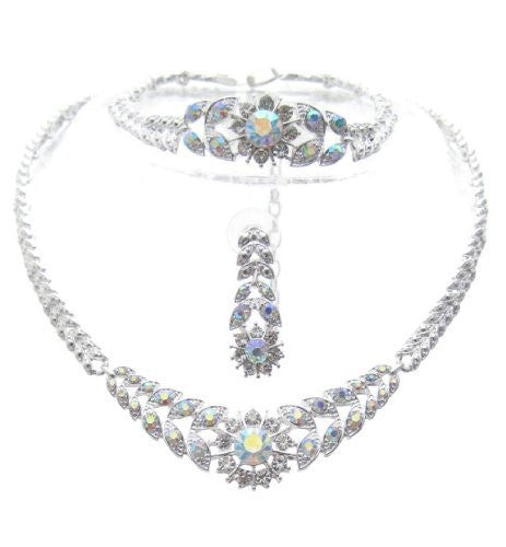 Crystal Sunburst 3 Piece Bling Bridal Necklace Earring AB IRIDESCENT SilverTone