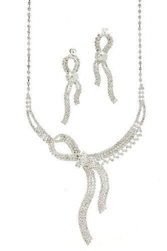 Knotted Rhinestone Bow Bridal Necklace Set on Silver Tone DE2