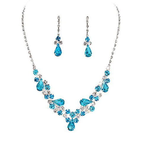 Aqua Blue Teardrop Accented Rhinestone Necklace Set Bridal Bridesmaid Prom SilverTone