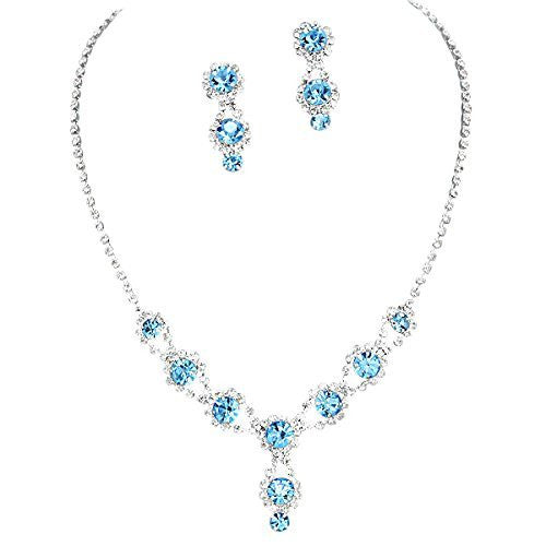 Stunning Y Drop Evening Aqua Blue Crystal Bridal Bridesmaid Necklace Earring A4