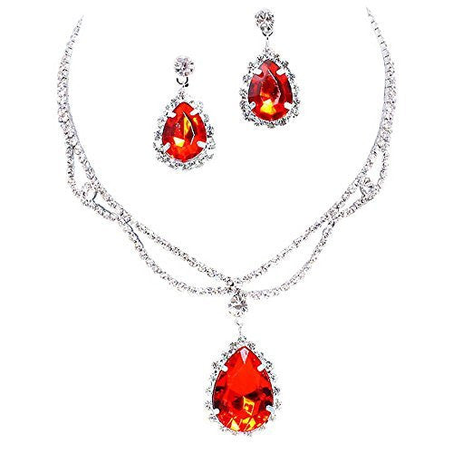 Red Statement Teardrop Bridal Bridesmaid Necklace Earring Set Silver Tone D2