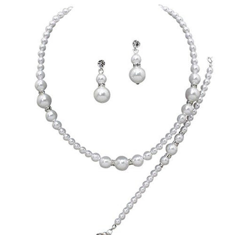 3 Piece Faux Graduated White Pearl Bridesmaid Bridal Necklace, Earring, Bracelet W Crystal Silver Tone