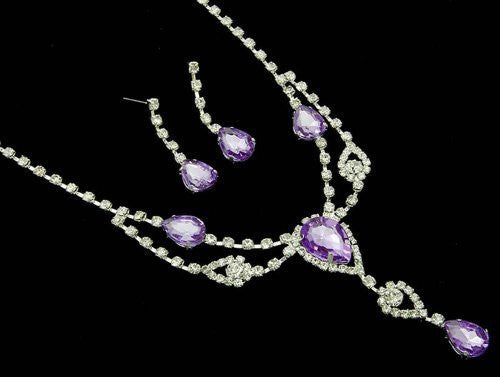 Stunning Y Drop Evening Lilac Lite Purple Crystal Bridal Necklace Bridesmaids Party