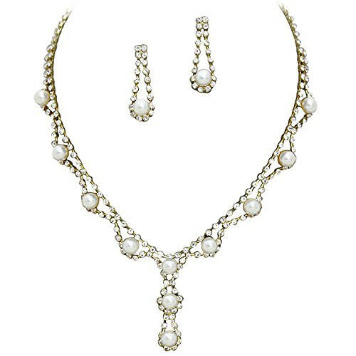 Stunning Y Drop Bridal Wedding Cream Pearl Necklace Earring Set Gold Tone Bling AB4