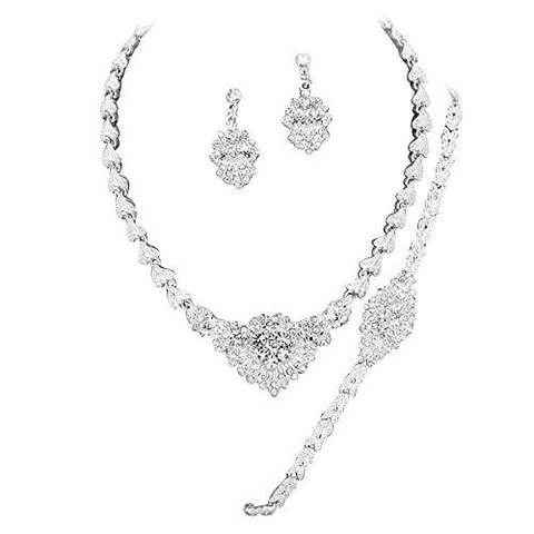 Designer Inspired Bridal Elegant Crystal Necklace Bracelet Earring Set Silver DG5