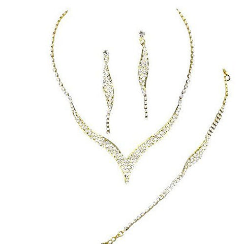 AFFORDABLE Sparkly 3 Piece BRIDESMAID BRIDAL NECKLACE, EARRING, and BRACELET On Gold Tone DE4