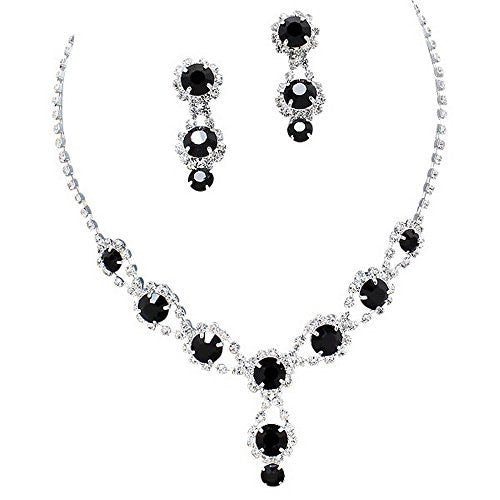 Stunning Y Drop Evening Onyx Black Crystal Bridal Bridesmaid Necklace Earring A1