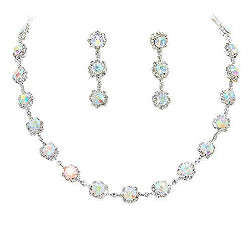 Iricescent AB Floral Crystal Rhinestone Collar Necklace Necklace Set Bridal Bridesmaid Prom Silver Tone
