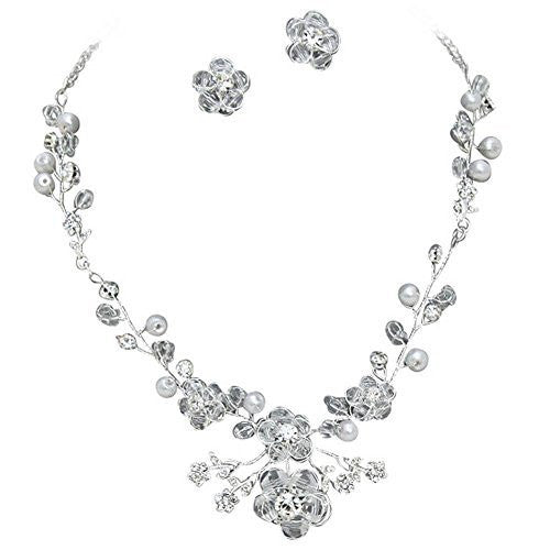Designer Look Handmade Bridal Crystal Necklace Earring Set Silver Tone Bling