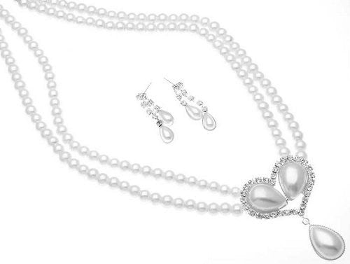 Lovely & Sweet 2 Strand Cream Pearl Bridal Necklace Earring Set W Blossom