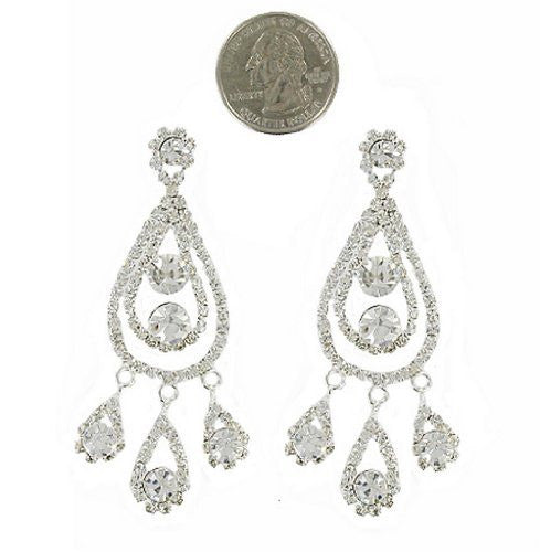 Fashion Forward Chic Chandelier Rhinestone Bridal Earrings -Silver Tone