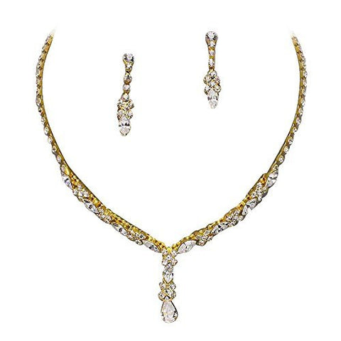 Beautiful Y Drop Evening Party Gold Bridal Bridesmaid Necklace Earring Rhinestone Bling P6