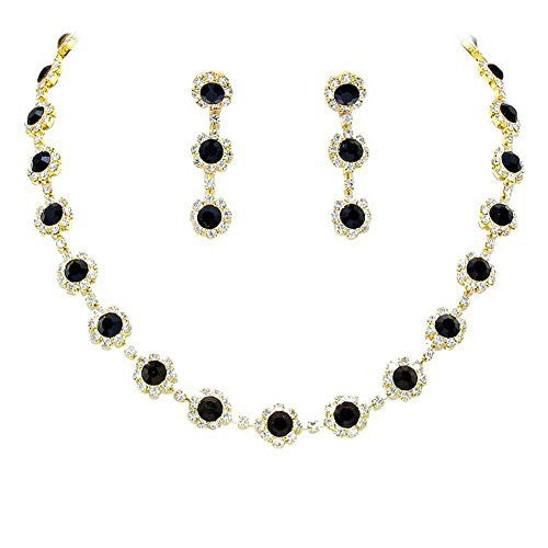 Onyx Black Floral Crystal Rhinestone Collar Necklace Necklace Set Bridal Bridesmaid Prom Gold Tone