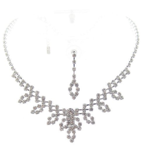 Bling Lovely Crystal On Silver Tone Bridesmaid Bridal Evening Necklace Earring