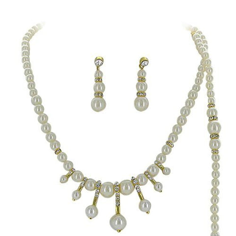 3 Piece Faux Cream Pearl Bridesmaid Bridal Necklace, Earring, Bracelet W Crystal Gold Tone AC4
