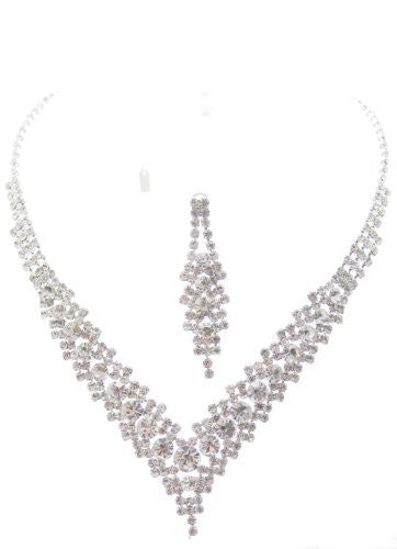Bling V Clear Crystal On Silver Tonel Bridesmaid Bridal Evening Necklace Earring