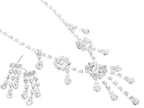 Fringe Bling Petite Rhinestone BRIDESMAID Bridal Necklace Set Silver Tone