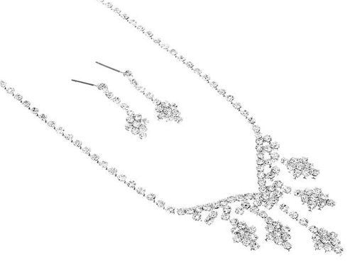 Drop Bling Petite Rhinestone BRIDESMAID Bridal Necklace Set Silver Tone