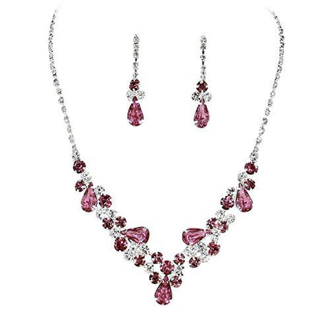 Purple Teardrop Accented Rhinestone Necklace Set Bridal Bridesmaid Prom SilverTone