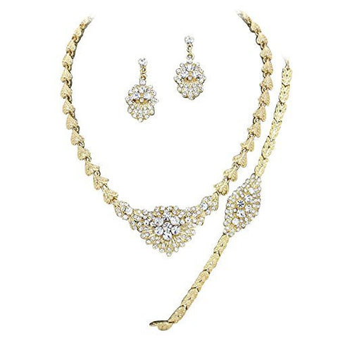 Designer Inspired Bridal Elegant Crystal Necklace Bracelet Earring Set Gold Tone