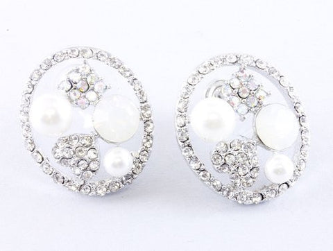 White Pearl Stud Bridal Bridesmaid Earrings W AB Rhinestone On Silver Tone