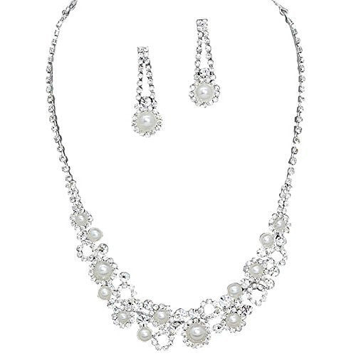 Elegant Sophisticated White Faux Pearl Bridal Wedding Necklace Set W Crystal Silver Tone AA6